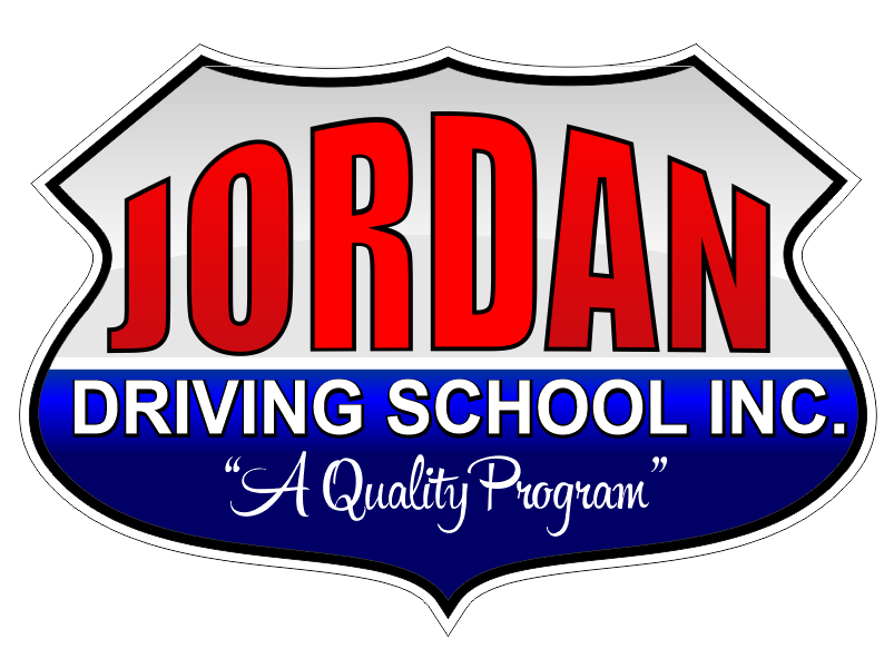 Jordan Driving School logo which looks like a highway route sign